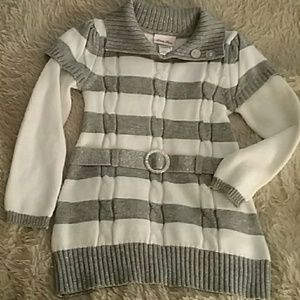 White and Sparkly Silver Striped Sweater Dress Sz5